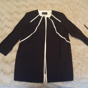 NWT long navy w white trim jacket sz 14WP